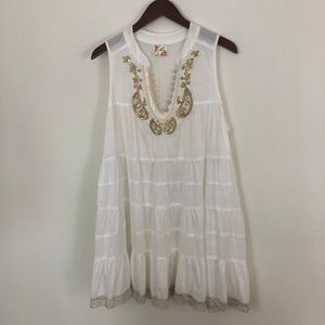 Free People Cream Embroidered tunic/cover-up/dress